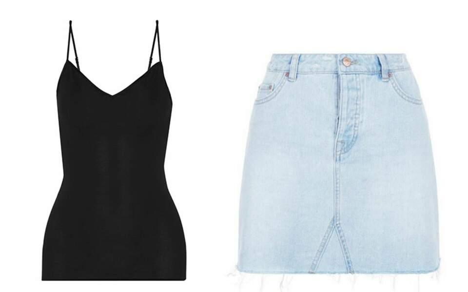 Caraco, Hanro, 35€ - Mini-jupe en jean, New Look, 9,20€ au lieu de 22,99€