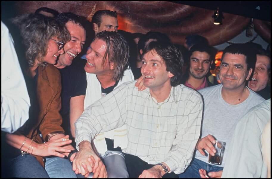 Véronique Sanson, Pierre Palmade, Patrick Juvet et Jean-Marie Bigard lors d'une soirée au Queen le 17 janvier 1995.