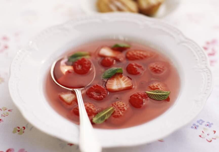 Soupe de fraises à la vanille