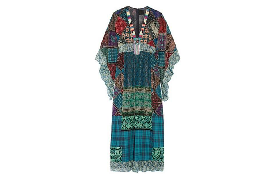Robe en mousseline de soie patchwork, Anna Sui, 1085€