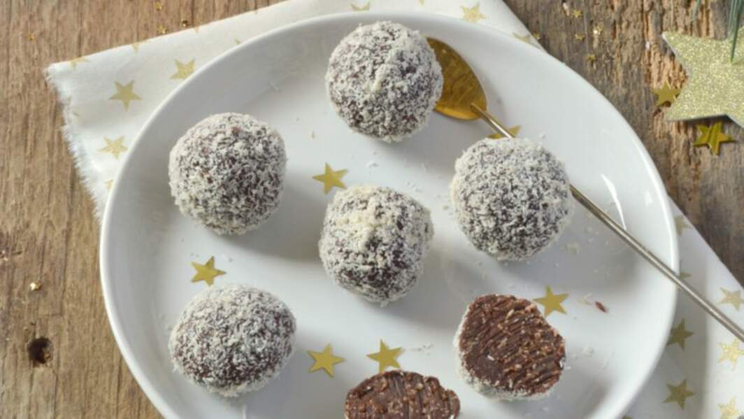 Truffes chocolat et noix de coco