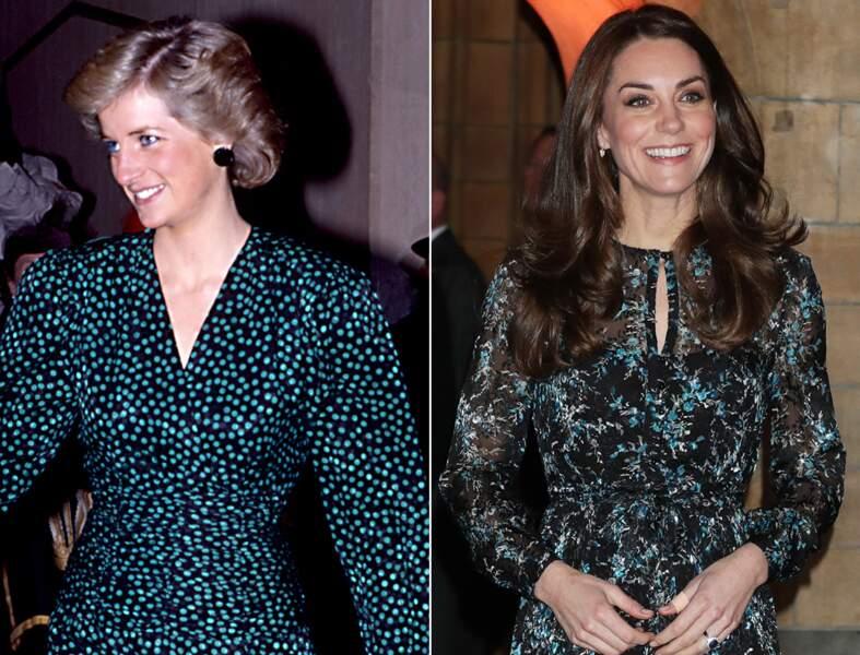 ...robe noir et vert, Lady Di et Kate Middleton ont véritablement beaucoup de points communs en matière de mode !