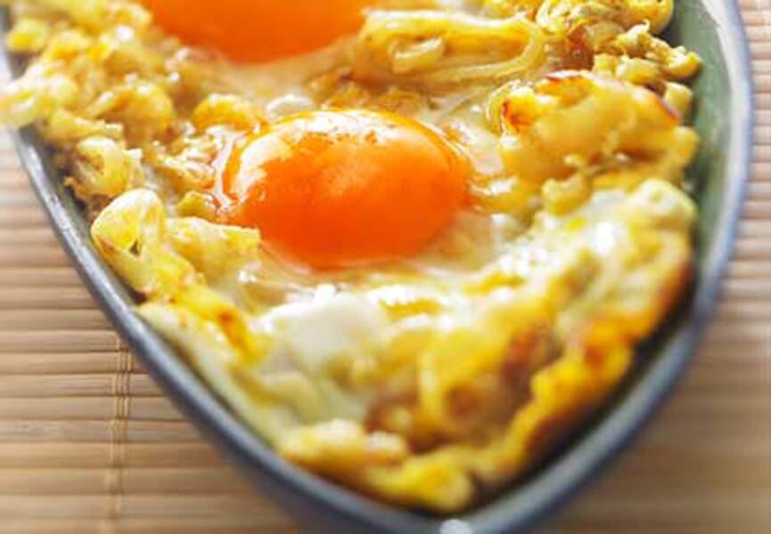Tajine aux œufs et aux échalotes nouvelles