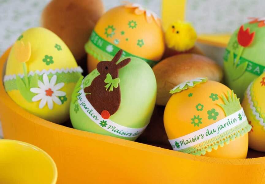 Des petits oeufs jaunes et verts pour Pâques