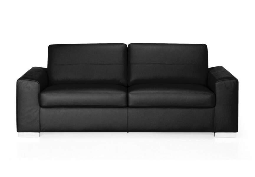 Déco industrielle : le canapé cuir noir