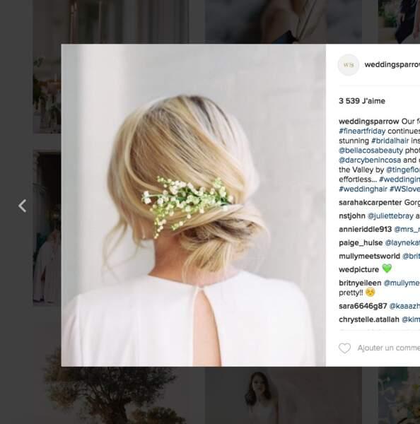Coiffure de mariage pour cheveux longs : le chignon de mai