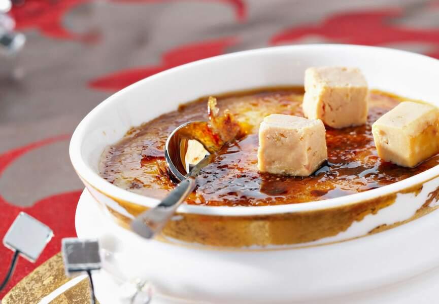Crème brûlée au foie gras et cacao amer
