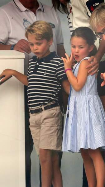 Le prince George et la princesse Charlotte à la régate King's Cup à Cowes, le 8 août 2019