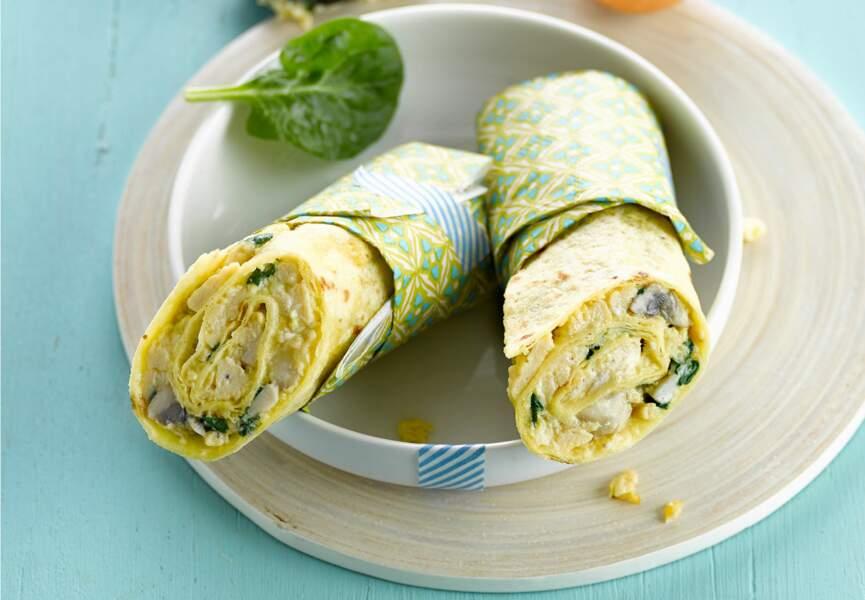 Tortilla d'omelette aux champignons et épinards