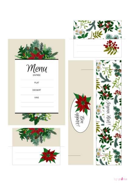 Eléments menu Noël