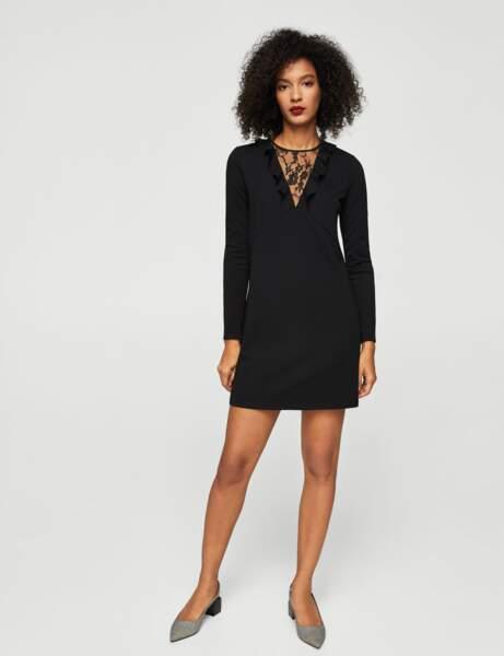 Mango : la robe noire à dentelle