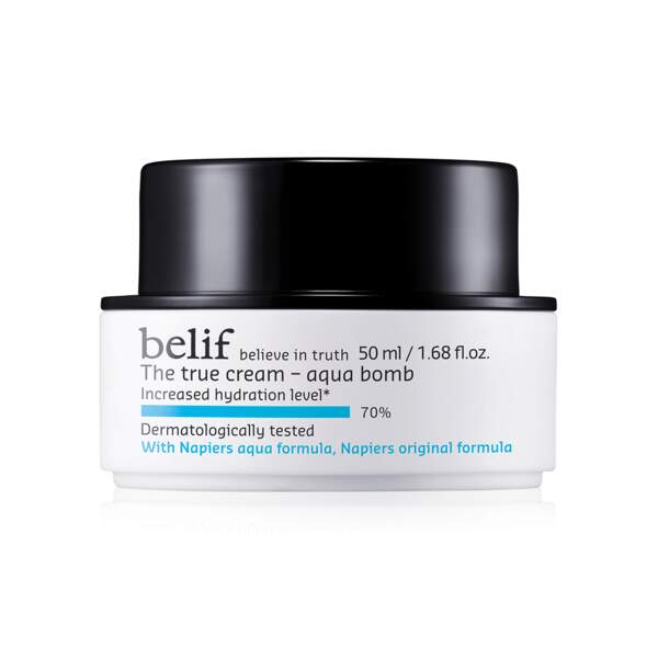 The True Cream Aqua Bomb Crème Hydratante Riche, Belif, pot 50 ml, prix indicatif : 35 €