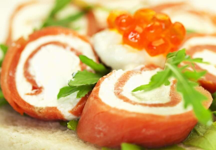 Roulés de saumon fumé à la moutarde ancienne