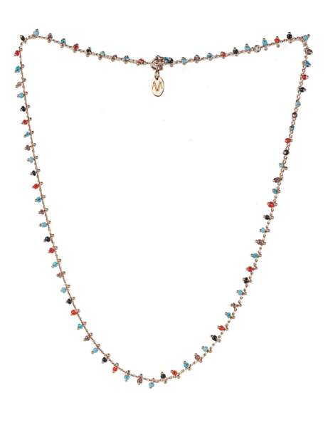 Collier : perles colorées
