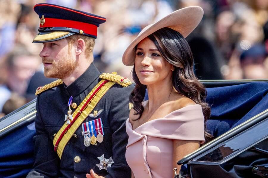 Le prince Harry et Meghan Markle lors de la traditionnelle cérémonie Trooping the Colour, le 9 juin 2018