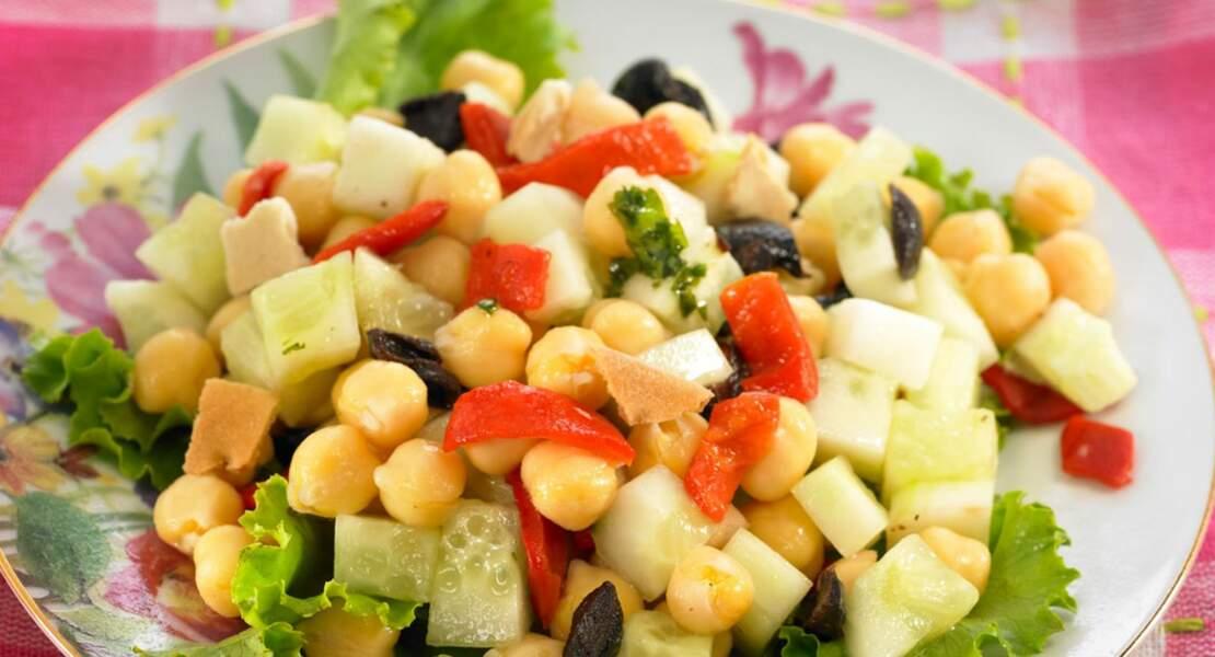 Salade de pois chiches et concombres