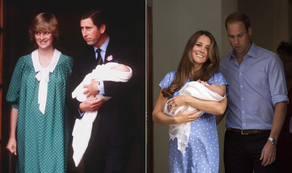 ...sortie de la maternité en robe à pois presque identique, verte pour l'une, bleue pour l'autre...