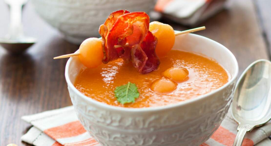 Soupe glacée au melon parfumée au pastis