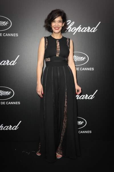 Cannes : Mélanie Doutey, 40 ans, en robe de gala le soir