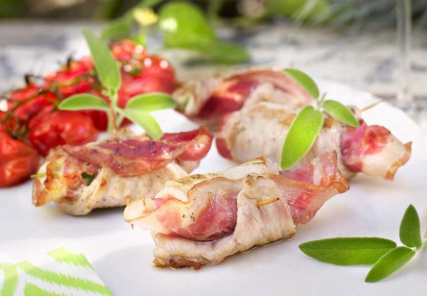 Piccatas de veau à la pancetta et mozzarella