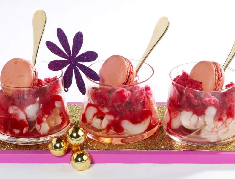 Coupes glacées fleurs et fruits