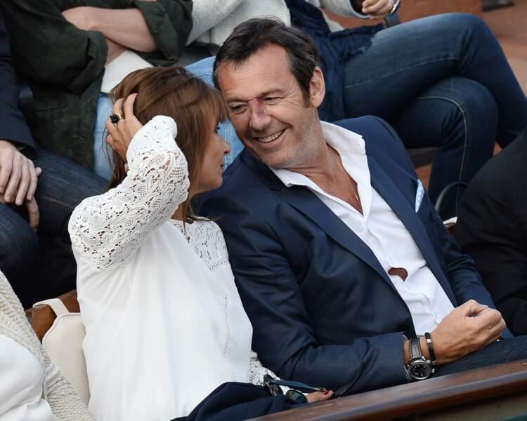 Jean-Luc Reichmann et sa femme Nathalie en 2014 à Roland-Garros