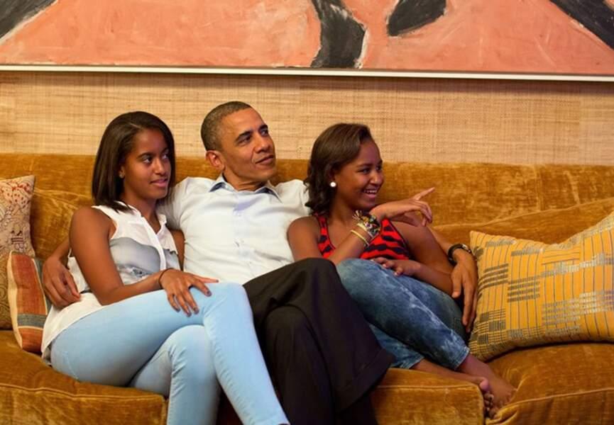 Barack Obama et ses deux filles, le jour du discours de Michelle Obama, en septembre dernier