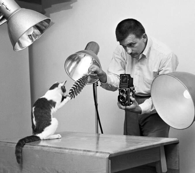 Walter Chandoha dans son studio de Long Island