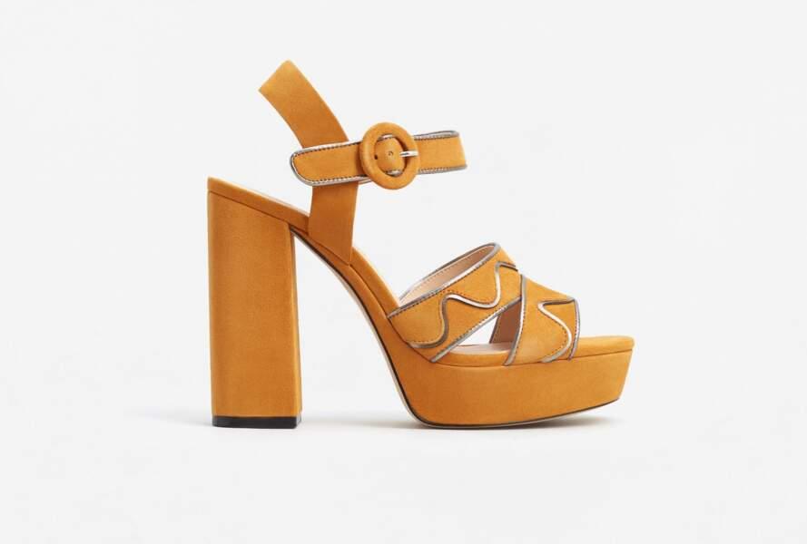 Sandales à plateforme jaune