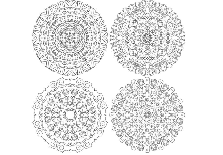 Quatre petits mandalas gratuit à imprimer