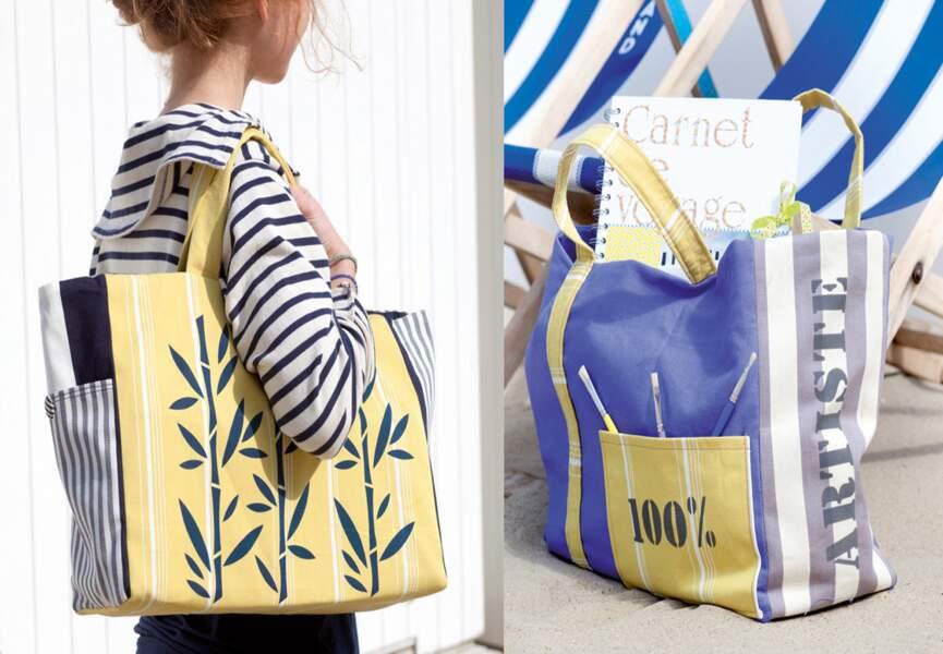 On se confectionne un sac de plage décoré au pochoir