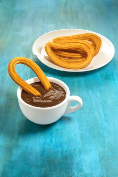 Churros et chocolat chaud