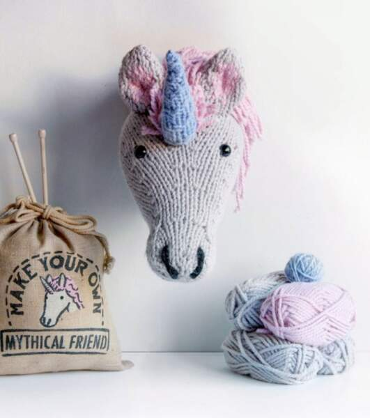 Tête de licorne à tricoter