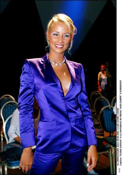 Elodie Gossuin à la conférence de presse de Miss Europe à Eurodisney en août 2003.