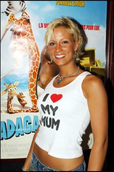 """Elodie Gossuin à la première du film """"Madagascar"""" au Planet Hollywood de Paris, le 21 juin 2005."""