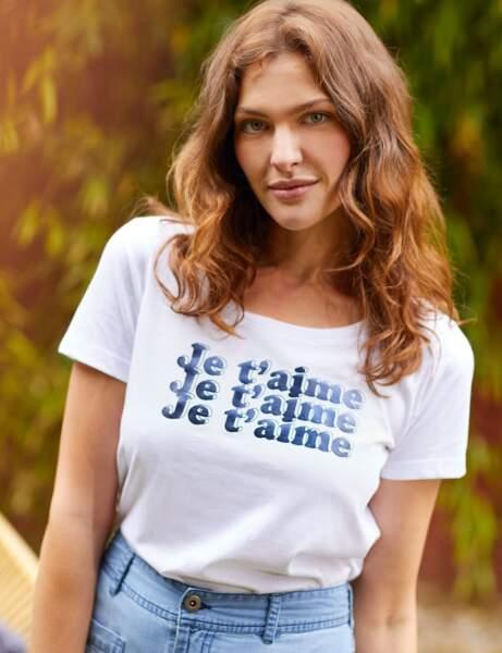 Tee-shirt blanc : mots doux