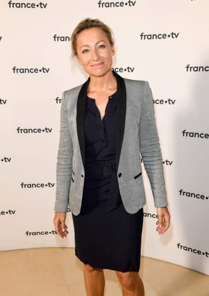 Anne-Sophie Lapix à la conférence de presse de France 2 au théâtre Marigny le 18 juin 2019.