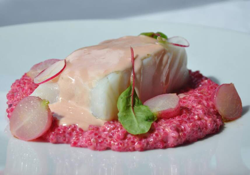 Dos de cabillaud, risotto de quinoa au champagne rosé