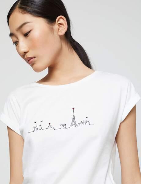 Tee-shirt blanc : parisienne