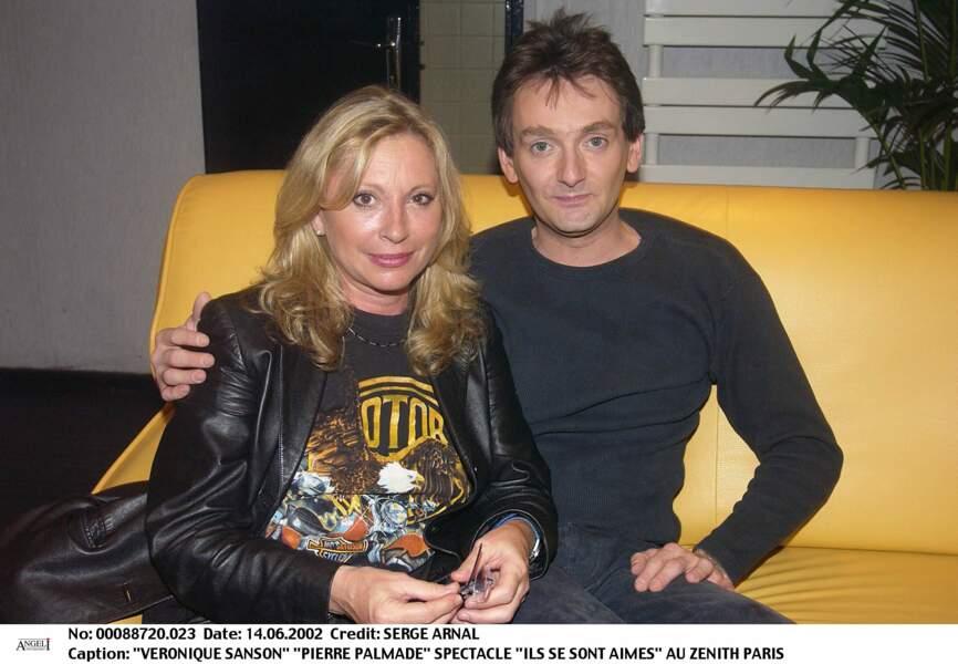"""Véronique Sanson et Pierre Palmade au Zénith de Paris pour le spectacle """"Ils se sont aimés"""" le 14 juin 2002."""