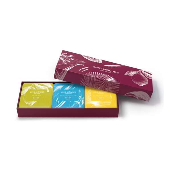 Coffret 3 savons aromatiques, Cinq Mondes, 39 €