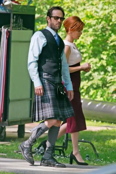"""Luke Perry sur le tournage de la série télévisée """"Riverdale"""" à Burnaby (Canada), le 26 juin 20"""