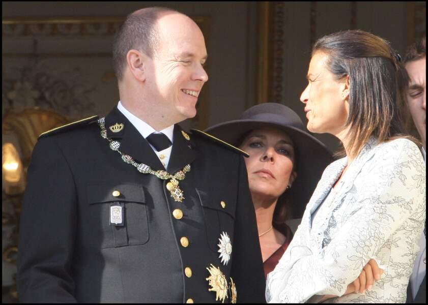 Le prince Albert II de Monaco et sa soeur Stéphanie le jour de la fête nationale en 2005.
