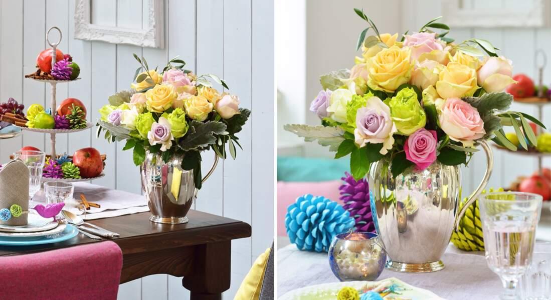 Art floral de Noël : un bouquet de roses