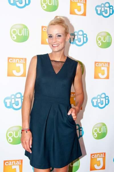 Elodie Gossuin au photocall de la rentrée télé des chaînes Canal J, Gulli et Tiji à Paris le 30 juin 2016.