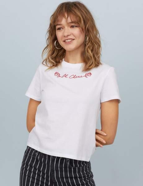 Tee-shirt blanc : fleur bleue