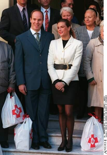 Le prince Albert II de Monaco et sa soeur Stéphanie en 1995.