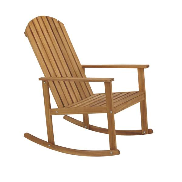 Rocking-chair en acacia huilé