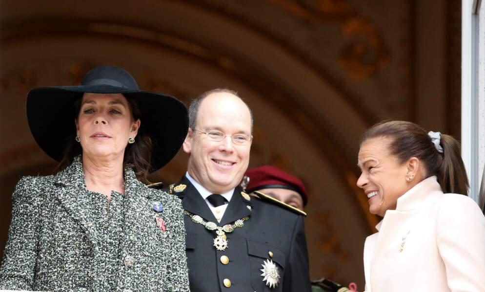 Le prince Albert II de Monaco et ses soeurs Caroline et Stéphanie le jour de la fête nationale en 2013.