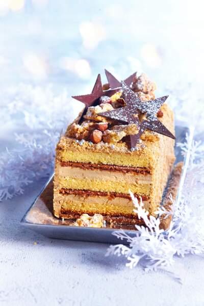 Bûche de Noël café-noisette